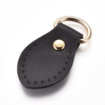 Leather Zipper Puller, with Iron Rings, Zip-fastener Components, For Bag Accessories, Black, Golden, 66x34.5x8mm, Hole: 9x20mm(FIND-WH0051-86)