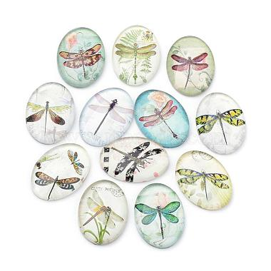 25mm Mixed Color Oval Glass Cabochons