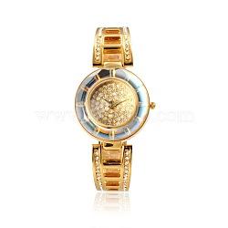 Хорошие День Святого Валентина подарки высокого качества горный хрусталь из нержавеющей стали наручные часы, кварцевые часы, золотые, 210x19 мм; головка часы: 36x36x16 мм(WACH-A004-05G)