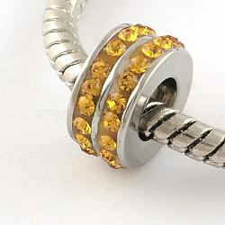 Chapelets de perle avec grand trou de colonne en 316 acier inoxydable, avec argile polymère strass, topaze clair, 10x5mm, Trou: 5mm(STAS-R082-AA104-13)
