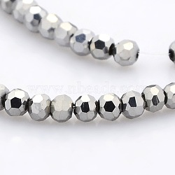Full Plated Glass Faceted Round Spacer Beads Strands, Silver Plated, 3mm, Hole: 1mm; about 100pcs/strand, 11.5