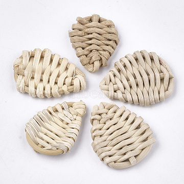 24mm AntiqueWhite Drop Rattan Beads