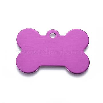 Pendentifs d'animal de compagnie en aluminium, estampillage d'une étiquette vierge, os, violet, 25x38x1mm, Trou: 3mm(ALUM-I002-06H)