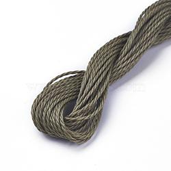 cordon de polyester ciré, olive, 1 mm; sur 8.96~9 m / rouleau(YC-WH0005-14)