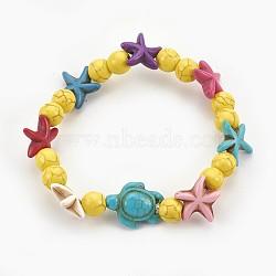 """Bracelets stretch enfants perles de turquoise synthétiques, tortue de mer et étoile de mer et rond, jaune, 2-1/8"""" (5.5 cm)(BJEW-JB03889-03)"""