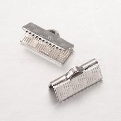 304 extrémités du ruban en inox, rectangle, couleur inox, 5x13 mm, trou: 1x2.5 mm(STAS-G140-20P)