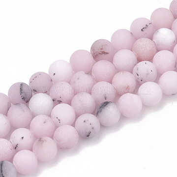 Natural Cherry Blossom Jasper Beads Strands, Frosted, Round, 8~8.5mm, Hole: 1mm; about 47pcs/strand, 15.5 inches(X-G-T106-276)