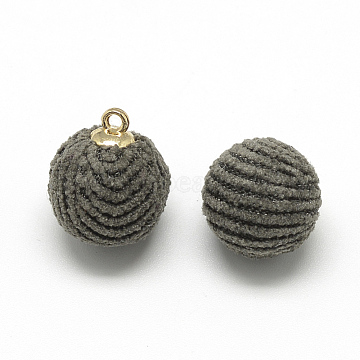 Corduroy Cloth Fabric Covered Charms, with Golden Tone Brass Findings, Round, DarkGray, 14x10~11mm, Hole: 1.5mm(X-WOVE-S084-50B)