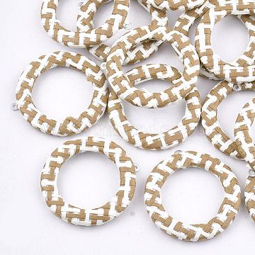 41mm BurlyWood Ring Raffia Pendants