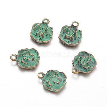 Flower Alloy Pendants, Nickel Free, Antique Bronze & Green Patina, 16x12.5x5mm, Hole: 2mm(PALLOY-O068-08-NF)