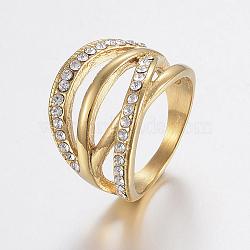 Bagues en 304 acier inoxydable avec strass, anneaux large bande, creux, or, taille 6~9, 16~19mm(RJEW-H125-54G)