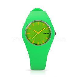 Из нержавеющей стали силиконовые кварцевые наручные часы модных женских, желто-зеленые, 255x18 мм; головка часы: 32x42x9 мм(WACH-N008-11D)