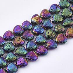 """Chapelets de perles en lave naturelle électrolytique, cahoteuse, cœur, multi-couleur plaquée, 11x10~10.5x4.5~5mm, trou: 1mm; environ 40 pcs/chapelet, 15.7""""(X-G-T126-10M)"""