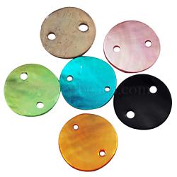 mère de liens de perles, plat rond, couleur mélangée, sur 13 mm de diamètre, 1 mm d'épaisseur, trou: 1 mm. 2 trous(X-PBB373Y)