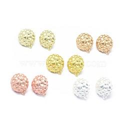 Accessoires de clou d'oreille en alliage, avec boucle, goupilles en laiton et écrous d'oreille / dos de boucle d'oreille, Plaqué longue durée, demi-rond, couleur mixte, 19x16mm, trou: 1.4 mm; broches: 0.7 mm(PALLOY-F255-33)