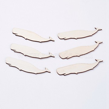 Wood Cabochons, Whale, Blanched Almond, 9.4x2.3x0.25cm(X-WOOD-F005-17)