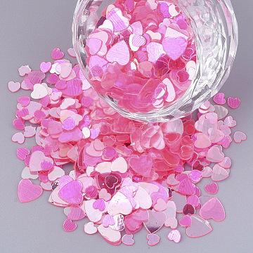 Ornament Accessories, Transparent PVC Plastic Paillette/Sequins Beads, No Hole/Undrilled Beads, Heart, Deep Pink, 3~6x3~6x0.3mm(X-PVC-S035-008A)