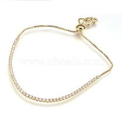bracelets de bolo en laiton de l'environnement, bracelets de slider, avec zircons, sans plomb et sans cadmium et sans nickel, effacer, 1-1 / 8 (3.1 cm) ~ 2-1 / 2 (6.5 cm); 1~2 mm(BJEW-P225-01G-02-NR)