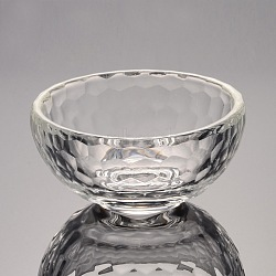 Faceted Bowl Glass Jewelry Displays, Clear, 79x46mm(ODIS-O001-A02)