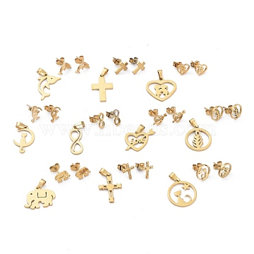 304 Stainless Steel Jewelry Sets, Pendants and Stud Earrings, with Ear Nuts, Mixed Shape, Golden, 20~22x8~19x1~1.3mm, Hole: 4.8~5.5x2.6~3.3mm; 10~11x4.5~8.5mm, Pin: 0.7mm(SJEW-K154-31G)