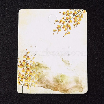 Paper Jewelry Display Cards, for Hanging Earring Display, Rectangle with Tree, White, 50x40x0.3mm, Hole: 5.3mm(CDIS-G002-07A-08)