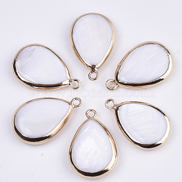 Natural Freshwater Shell Pendants, with Golden Plated Brass Open Back Settings, Teardrop, Seashell Color, 23x15x4mm, Hole: 1.8mm(X-SSHEL-R045-13)
