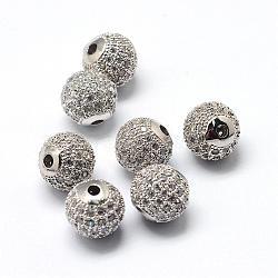 Perles de zircone cubique de placage de rack en laiton, Plaqué longue durée, rond, platine, 6x6mm, Trou: 1.5mm(ZIRC-S001-6mm-A03)