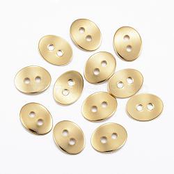 Bouton en 304 acier inoxydable, ovale, deux trous, or, 13.5x10.5x0.8mm, Trou: 2mm(STAS-H557-13G)