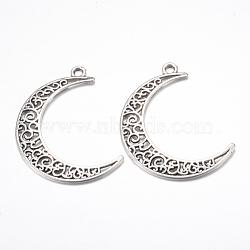 Tibetan Style Alloy Pendants, Crescent Moon, Cadmium Free & Lead Free, Antique Silver, 40x29x1mm, Hole: 2.5mm