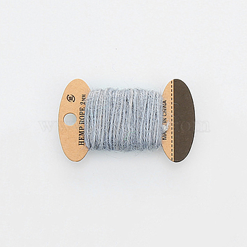 Jute Cord, Jute String, Jute Twine, 3 Ply, for Jewelry Making, Light Grey, 2mm, about 10.93 yards(10m)/board(OCOR-WH0016-06N)