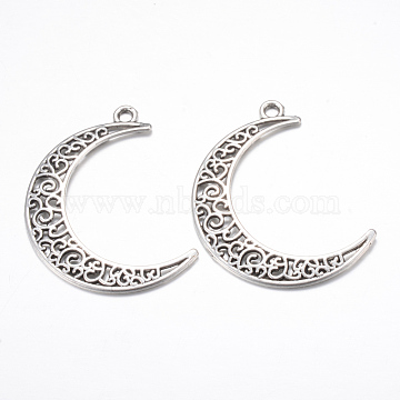 Tibetan Style Alloy Pendants, Crescent Moon, Cadmium Free & Lead Free, Antique Silver, 40x29x1mm, Hole: 2.5mm(X-TIBE-S299-029AS-RS)