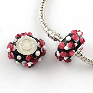 16mm Red Rondelle Lampwork+Brass Core Beads
