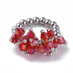 304 bagues élastiques en acier inoxydable, avec perle de verre galvanisée et goupilles en laiton, rouge, taille 8, 18mm(RJEW-JR00261-07)