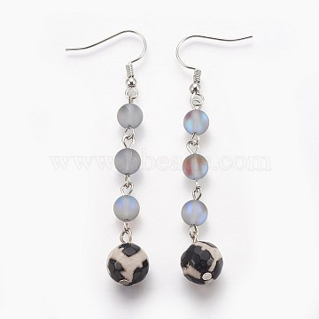 LightGrey Mixed Stone Earrings