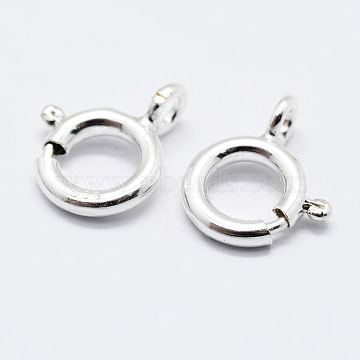 925 Sterling Silver Spring Ring Clasps, Ring, Carved 925, Silver, 7x6x1mm, Hole: 1.5mm(STER-K167-076A-S)