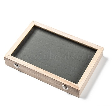 Wooden Ring Presentation Boxes, with Glass, 100 Slots Ring Storage Display Box with Transparent Lid, Rectangle, AntiqueWhite, 35x24x5.5cm(ODIS-P006-05)