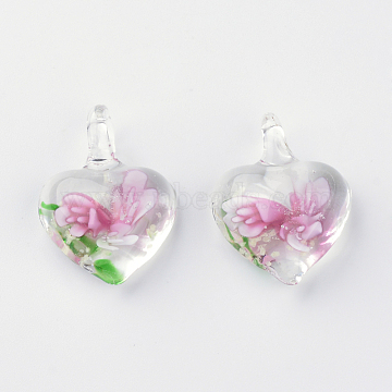 Handmade Luminous Lampwork Pendants, with Inner Flower, Heart, Pink, 27~33x21~23x9~11mm, Hole: 4~7mm(X-LAMP-R136-04F)