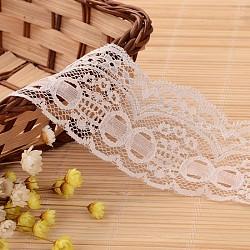 """Ruban en nylon avec garniture en dentelle pour la fabrication de bijoux, blanc, 2"""" (50 mm); environ 100yards / rouleau (91.44m / rouleau)(ORIB-L005-28)"""