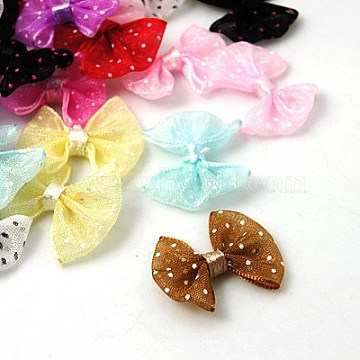 Ribbon Bowknot & Hair Bows, Costume Accessories, Mixed Color, 23x20mm(X-DBF017)