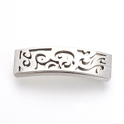 201 Stainless Steel Slide Charms, Polished, Rectangle, Stainless Steel Color, 42x12x5.5~6mm, Hole: 10x3mm(X-STAS-R092-37)