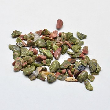 Unakite Chip Beads, No Hole/Undrilled, 2~8x2~4mm; about 170pcs/10g(X-G-O103-14)