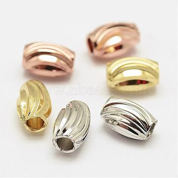 Brass Corrugated Beads, Oval, Cadmium Free & Nickel Free & Lead Free, Mixed Color, 6x4mm, Hole: 2mm(KK-P056-06-NR)