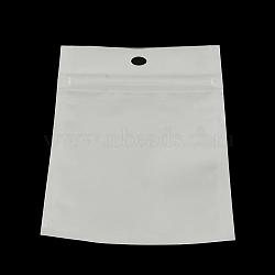 sacs de fermeture à glissière en plastique de film de perle, sacs d'emballage refermables, avec trou de suspension, joint haut, rectangle, blanc, 24x16 cm; mesure intérieure: 20x14.5 cm(OPP-R003-16x24)