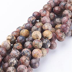 """Chapelets de pierres précieuses rondes de 16"""", jaspe en peau de léopard rouge, Perle: 10 mm de diamètre, trou: 1 mm. environ 40 perle / brin (GSR10mmC066)"""
