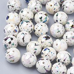 Perles acryliques peintes au pistolet ab-color, rond, blanc, 14mm, trou: 2.5 mm; environ 300 pcs / 500 g(ACRP-R146-02)