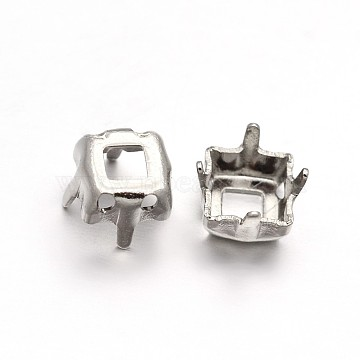 Square Brass Rhinestone Claw Settings, Within the Error Range of 1mm, Platinum, 8x8x0.4mm; Fit for 8x8mm cabochons(X-KK-N0084-07-8x8)