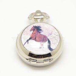 Ouvrables plats ronds cheval en alliage imprimés têtes de montres porcelaine de quartz pour colliers de montres de poche faisant, platine, 40x29.5x15mm(WACH-M111-09)