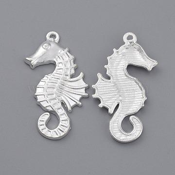 Tibetan Style Pendants, Sea Horse, Silver, Lead Free and Cadmium Free, 38x18x3mm, Hole: 2mm(X-EA12604Y-S)