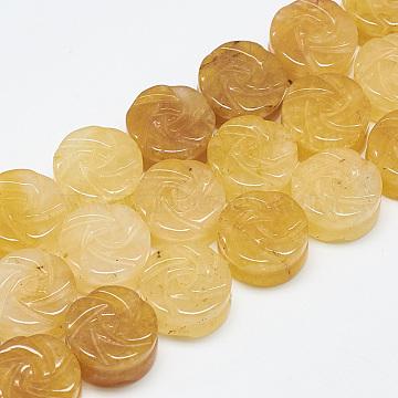 10mm Flat Round Topaz Jade Beads