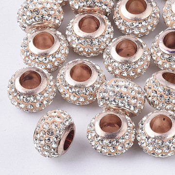 Polymer Clay Rhinestone European Beads, with Brass Single Cores, Large Hole Beads, Rondelle, Light Gold, Crystal, PP11(1.7~1.8mm), 11x8mm, Hole: 5mm(X-RB-S055-16B)